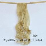 도매 리본 작풍 묶은 머리 자연적인 긴 꼬부라진 합성 묶은 머리