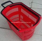 De nieuwe Plastic het Winkelen Supermaket Vervaardiging van de Mand van het Karretje van de Mand van Rolling van de Mand