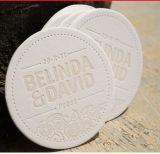 El práctico de costa de papel absorbente del hotel promocional redondo o cuadrado con insignia de encargo imprimió