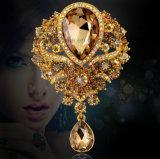 Luxuxfrauenrhinestone-Brosche-hängende Europa-Glasbrosche (Birne TB-026 pendante)
