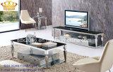Mesa de centro moderna del acero inoxidable, mesa de centro de cristal