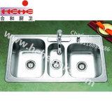 Bassin triple de lavage de cuisine d'acier inoxydable de cuvette (11048B)