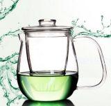 Puramente crisol de cristal del té del café del trabajo hecho a mano 600ml Flower&, crisoles de cristal a prueba de calor del té con el filtro