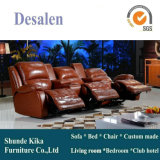 高品質のブラウンの革リクライニングチェアのソファー(D1003-1)