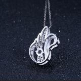 Collar pendiente Shaped del cisne lindo de la plata esterlina de las mujeres 925