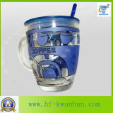 ステッカーのコーヒー・マグのKbHn0735のふたが付いているガラスコップのマグ