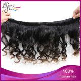 100%加工されていないボディ波の人間の毛髪