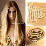 Grampo em extensões brasileiras do cabelo humano do Virgin