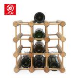 Basamento di legno solido di mostra della cremagliera del banco di mostra delle bottiglie di vino di qualità superiore