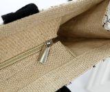 Kundenspezifische Druck-Entwurfs-Jutefaser-Einkaufstasche-Doppelt-Griffe