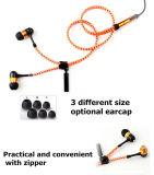 Связанный проволокой металлом наушник застежки -молнии Earbuds