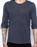 T-shirt de Henley de la chemise des hommes de Spandex du coton 5% de la coutume 95% long