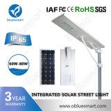 O diodo emissor de luz ao ar livre ilumina a luz de rua solar com lâmpadas solares