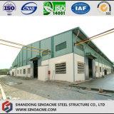 Armazém da construção de aço com revestimento da folha de metal