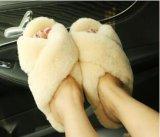Мода овчины туфли в помещении сандалии реального меха