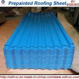 Hoja de acero galvanizada acanalada revestida del material para techos del color del material de construcción