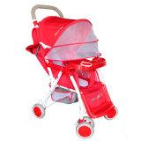 Fabrik-Verkaufs-faltbarer roter Baby-Kinderwagen-Spaziergänger 2017 mit Bremsen