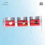Set der 3 Gewürz-Behälter-Zahnstange, Gewürz-Gläser mit Schutzkappe