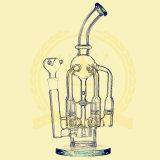 R12 Arm Perc Recycler Matriz de flores en línea Alto Tallador de reciclaje alto Tablero de color alto Vidrio Craft Cenicero Tubo de vidrio Heady Beaker Bubbler Petróleo Rigs Tubo de la taza