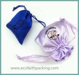 Мешок ювелирных изделий Drawstring сатинировки Tassels с печатание логоса