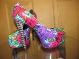 2016 afrikanische Ankara-Gewebe-Absatz-Frauen-Kleid-Schuhe (HCY02-1800)