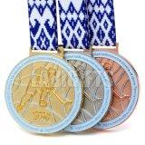 フラグカラーリボンが付いている卸し売り習慣3Dの金の銀のロシアのホッケーの状況の金属の記念品のスポーツ賞メダル