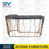 映された家具の玄関表の金の大理石表のコンソールテーブル