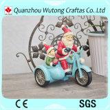 Artes modificados para requisitos particulares resina de la Navidad de la decoración de Papá Noel de la motocicleta