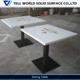 Grossiste Fabricant White High Glossy Corian Acrylic Soild Surface Restaurant Table Chairs