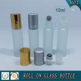 rolo do vidro 10ml geado no frasco com a esfera de rolo de alumínio do tampão e do metal
