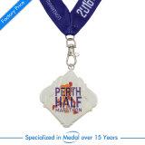 Demi de médaille de marathon d'émail en alliage de zinc avec la lanière