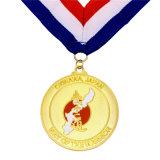 締縄が付いているエナメルの金の勝者メダル