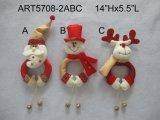 Resorte Legged con el sombrero del regalo, decoración de la Asst-Navidad 3