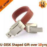 De zwarte Gift van de Aandrijving van de Pen van het Holster USB van het Leer Ringvormige (yt-5111)