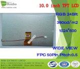 10.1 панель ODM промышленная LCD дюйма 1024X600 RGB 50pin 380CD/M2