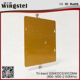 Tri amplificateur de signal du répéteur GSM/3G/1800MHz de signal de téléphone mobile de la bande 900/1800/2100MHz