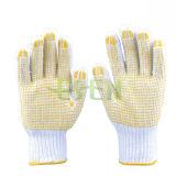 Le coton normal a tricoté le gant de travail de sécurité du travail de points de PVC (D16-H2)