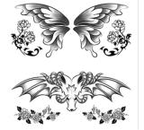 Tatuaje temporal del arte de la etiqueta engomada del tatuaje de la transferencia del agua del tatuaje del cráneo