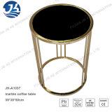 黒く自然な円形の大理石の金属のステンレス鋼の側面またはコーヒーテーブル
