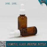 20ml 30ml bernsteinfarbige wesentliches Öl-Glasflasche mit weißer Plastikschrauben-Tropfenzähler-Schutzkappe