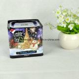 Por encargo del cuadrado del metal caja de la lata de té con tapa hermética