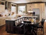 Cabinas de cocina rústicas de madera sólida de la nuez