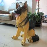 """14.5 """" cães de pastor alemão afortunados do cão da estátua Lifelike encantadora da resina dirigem a decoração"""