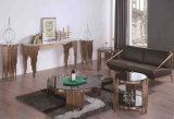 Верхняя часть грецкого ореха пульта мебели гостиницы с ногой нержавеющей стали