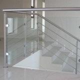 Pasamano de cristal de interior al aire libre de la seguridad para el balcón del cable