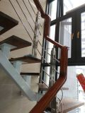 Подгонянная лестница крытой нержавеющей стали деревянная