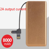 Batterie Polymer Ultrathin Batterie Mobile Power 8000mAh avec Housse en Cuir