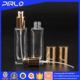 bouteille de parfum en verre de forme rectangulaire de 30ml 1oz avec le pulvérisateur en aluminium