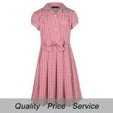 Servicio del OEM del diseño de los vestidos del algodón de las muchachas del uniforme escolar de la guinga