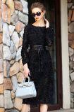 I fiori tridimensionali del nero dolce del vento delle donne di Haute Douture coltivano il vestito sexy dal merletto